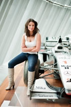 Torie Campbell and Mika Hakkinen's McLaren Formula One car.