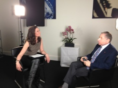Interviewing FIA President Jean Todt at the FIA Headquarters in Paris for CNBC.