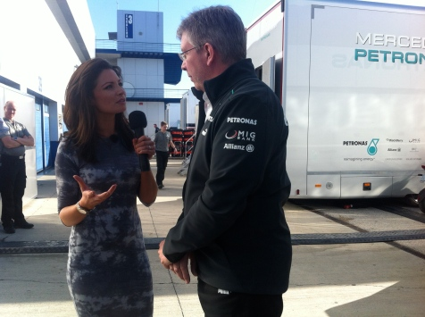 Interviewing Ross Brawn in the F1 Paddock.