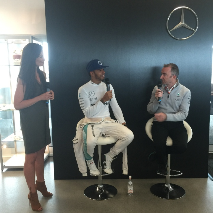 Torie Campbell with Lewis Hamilton and Paddy Lowe