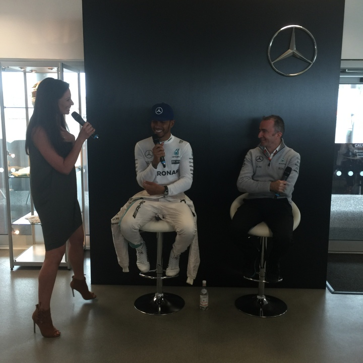 Torie Campbell chats to Lewis Hamilton and Paddy Lowe