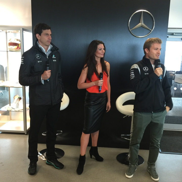 Toto Wolff, Torie Campbell and Nico Rosberg taking questions from the crowd.